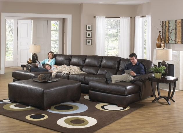 Sofa With Chaise Lounge Dark Brown Leather U Shaped Sofas With Double Chaise Large Ottoman Set  Pics 85
