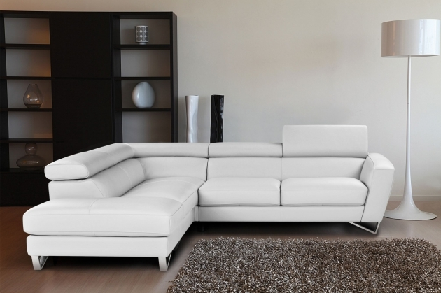 Sparta Italian Modern White Leather Sectional With Chaise Image 60