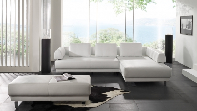 White Leather Sectional With Chaise Ideas In Small Apartment Living Room Picture 36