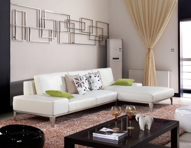 White Leather Sectional With Chaise Small Living Room Picture 35