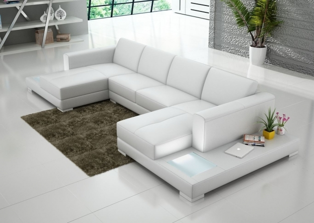 White Leather Sectional With Double Chaise For Minimalist Living Room  Photos 13
