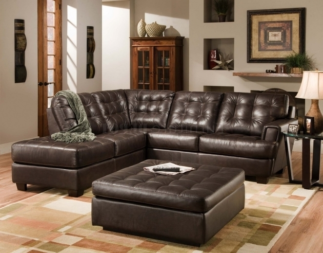 Black Tufted Leather Sectional Sofa With Chaise And Bench
