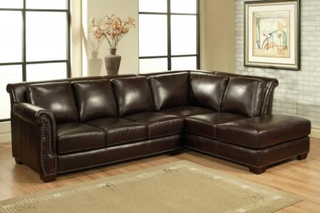 Genuine Leather Sectional with Chaise