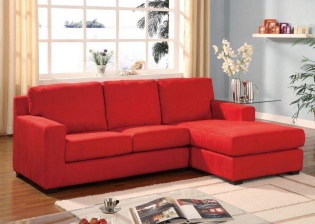 Elegant Living Room With Red Leather Small Sectional Sofa With Chaise Lounge And Gray Sky Wall Color Painted Decoration Picture 37