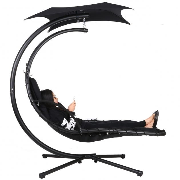 Hanging Chaise Lounge Chair Ancheer 350lbs Max Weight Capacity Black Images 12
