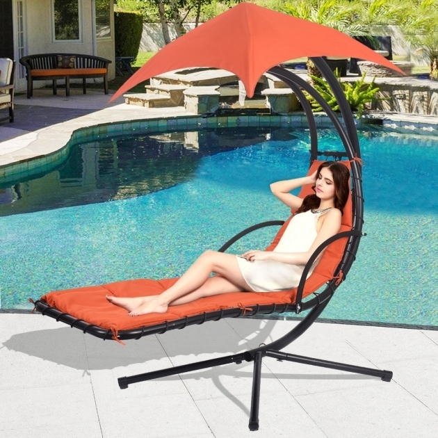 Hanging Chaise Lounge Chair Arc Stand Ideas Air Porch Swing Hammock Orange Image 46