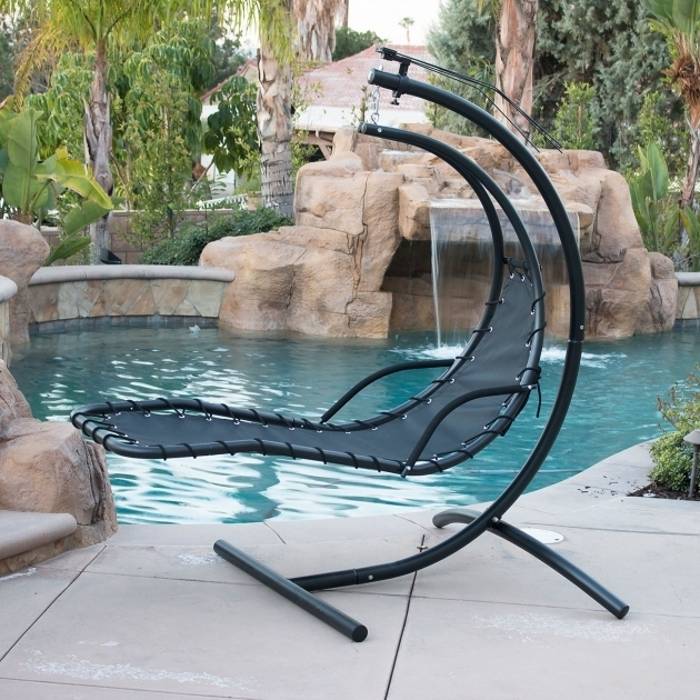 Hanging Chaise Lounge Chair Hammock Swing Canopy Glider Outdoor Black Images 69