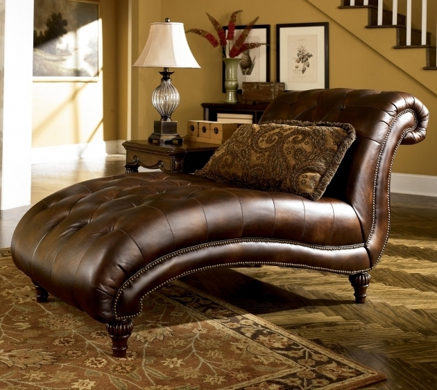 Large Brown Leather Armless Oversized Chaise Lounge Sofa With Tufted Seat And Backrest Pictures 51