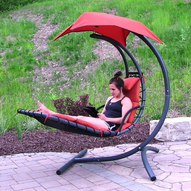 Outdoor Products Sunnydaze Floating Hanging Chaise Lounge Chair Photo 12