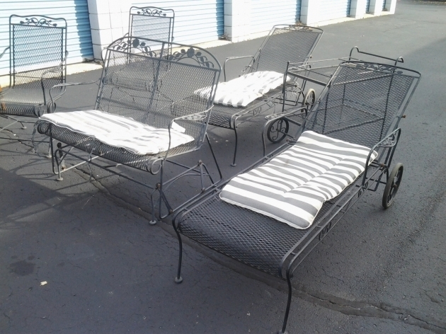 Rare Vintage WWrought Iron Chaise Lounge Chairs Mesh Salterini Six Piece Patio Set Picture 68