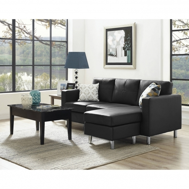 Small Couch With Chaise Lounge Configurable Black Sectional Sofa For Small Space Picture 48