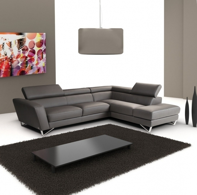 Sparta Dark Grey Italian Leather Sectional Sofa With Chaise Pictures 08