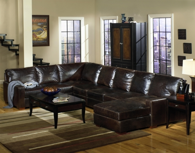 Track Arm Genuine Leather Sectional With Chaise Usa Premium Leather Wolf Photo 61