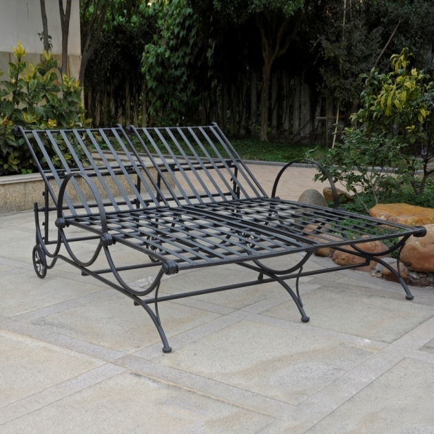 Wrought Iron Chaise Lounge Chairs International Caravan Antique Black Photos 55