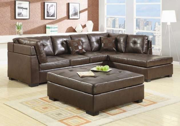 Brown Corner Leather Sectionals With Chaise And Square Upholstered Coffe Table Photo 39