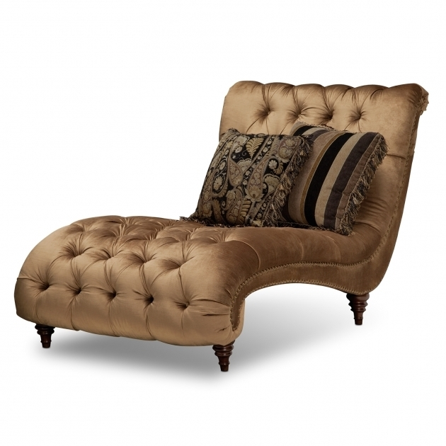 Brown tufted microfiber oversized chaise lounge chair with for Brown microfiber chaise lounge