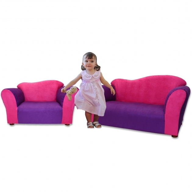 Children's Chaise Lounge Wave Microsuede Sofa And Chair Set In Pink And Purple  Pictures 19