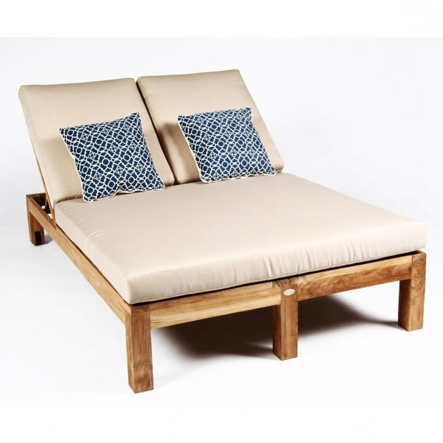 Double Chaise Lounge Pads Outdoor Wood Images 28