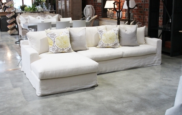 Farmhouse Style Linen Slipcovered Sofa With Chaise Images 62