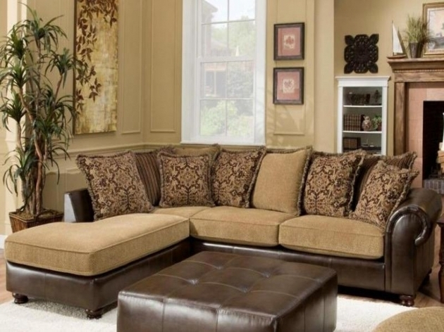 Furniture Brown Chaise Lounge Sofa With Ottoman And Pattern Cushions Picture 39