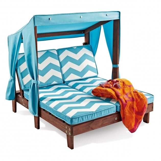 Kidkraft Double Chaise Lounge Outdoor Furniture Blue Stripe Cushion Seater Backrest Canopy Top Pictures 31