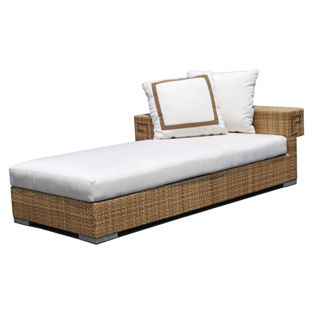 Left Arm Chaise Lounge With Cushions And White Color Also Woven Of Rattan Picture 15