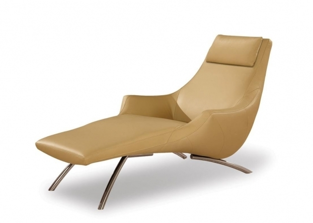 Modern Chaise Lounge Chairs Indoors With Chrome Legs And Cream Leather Cover Photo 60