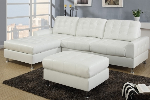 Modern Chaise Lounge Sofa With Ottoman Cream White Bonded Leather Sectional Sofas Photo 20