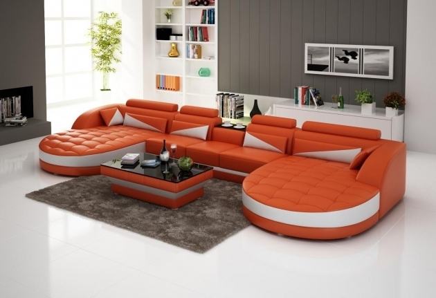 Orange WhiteDouble Wide Chaise Lounge Sectional With Curved Tufted Design And Glass Top Coffee Table Ideas Picture 00
