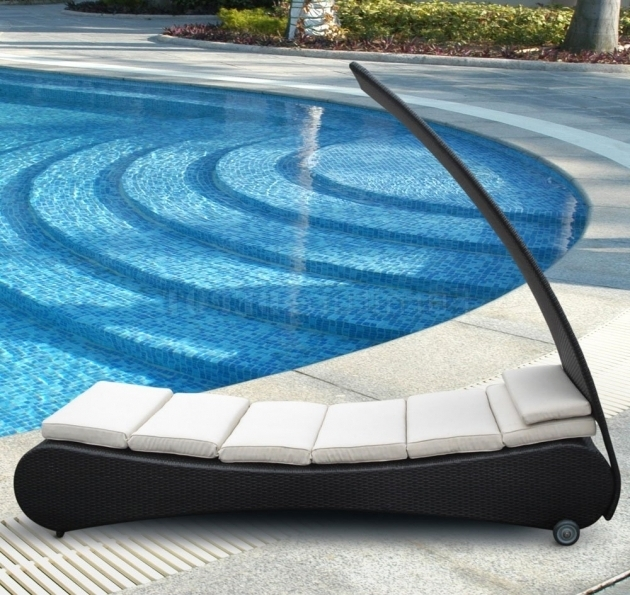Outside Chaise Lounge With Black Canopy And Leather Frame Design Photos 03