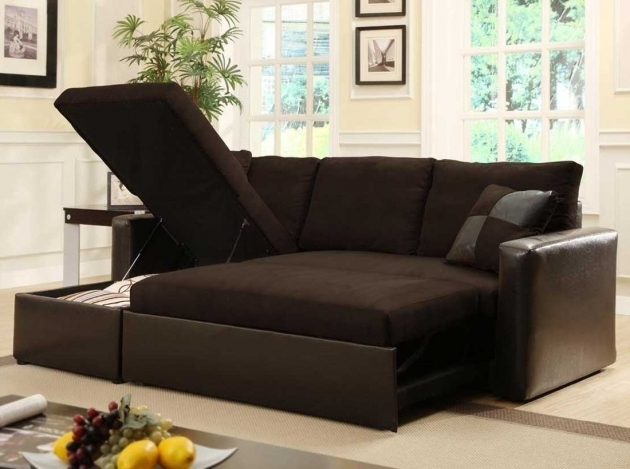 Small Brown Sleeper Sectional Sofa With Chaise Design Picture 00