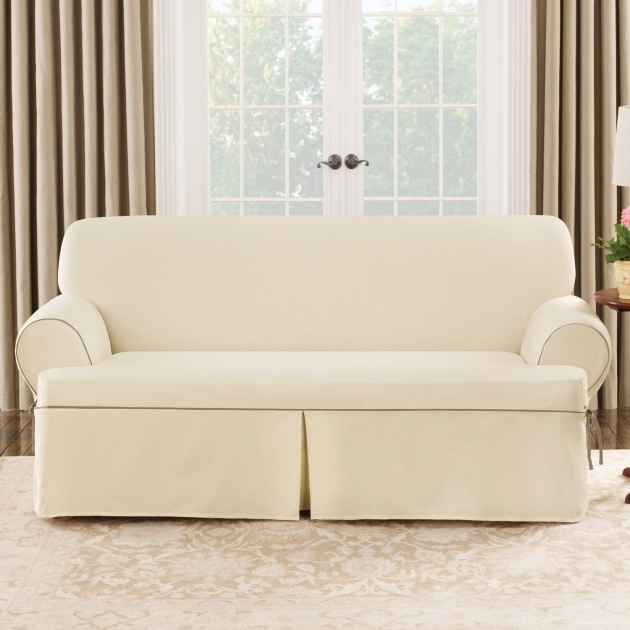 Sure Fit Cotton Duck Sofa T Cushion Chaise Lounge Slipcovers Photos 37