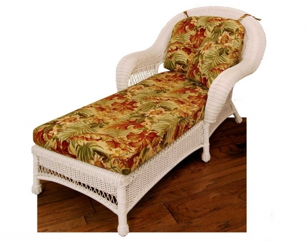 White Wicker Chaise Lounge Clearance With Cushions Photo 75