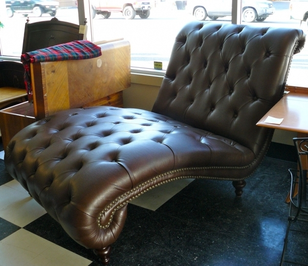 Wide Faux Brown Leather Double Wide Chaise Lounge With Tufted Ornaments Pictures 61