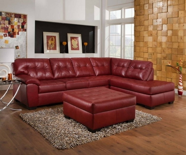 Cardinal Bonded Leather Red Sectional Sofa With Chaise Photos 33