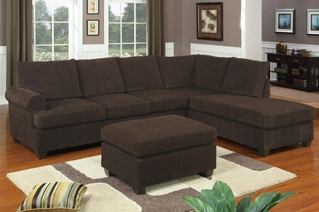 Comfortable Brown 2 Piece Sectional Sofa With Chaise Featuring Brown Ottoman Pictures 16