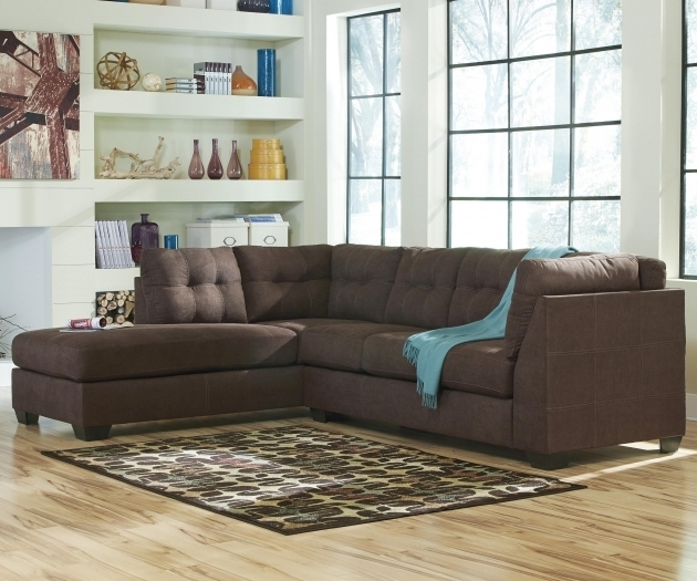 Dark Brown 2 Piece Sectional Sofa With Chaise And Polcadot Rug  Images 72