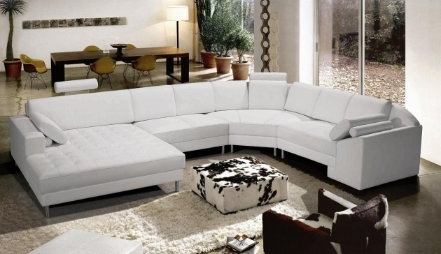 Lovely White Leather Modern Clean Extra Large Sectional Sofas With Chaise Image 09