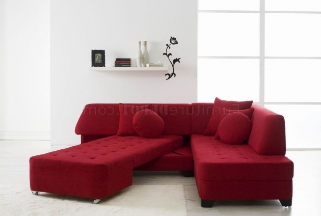 Modern Convertible Red Sectional Sofa With Chaise And Wood Legs Images 56