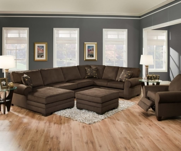 Pretty Brown Velvet Extra Large Sectional Sofas With Chaise And Cushion Image 02