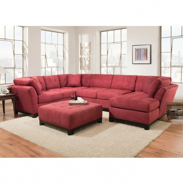 Red Sectional Sofa With Chaise With Ottoman Living Room Furniture Image 94