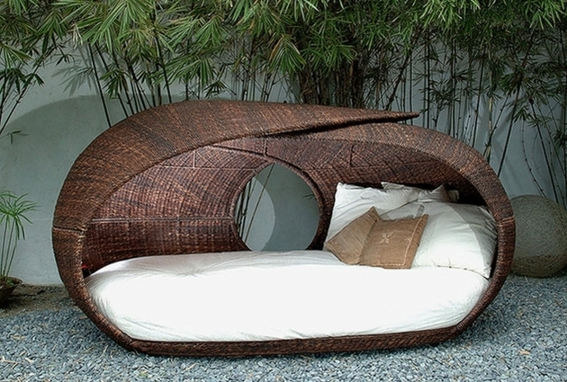 Round Brown Wicker Patio Daybed Design With Canopy White Fabric Chaise Lounge Replacement Cushions Ideas Pictures 66
