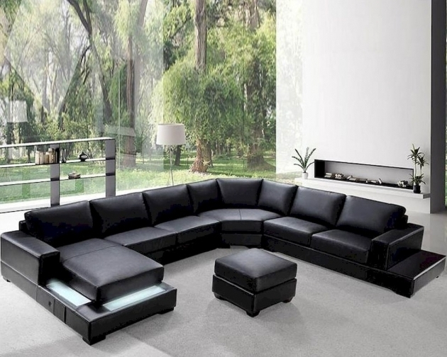 Brown leather sectional with chaise lounge and recliners for Black leather sectional with chaise