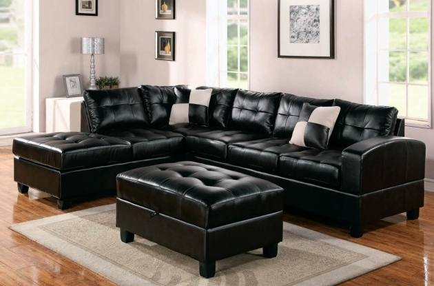 Black Leather Sectional With Chaise Style Design Picture 14