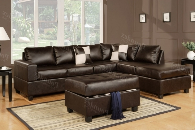 Bonded Brown Leather Sectional With Chaise Couch Photo 24