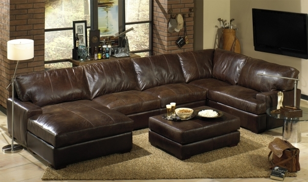 Brown Leather Sectional With Chaise And Recliners Also Coffee Ottoman  Pictures 08