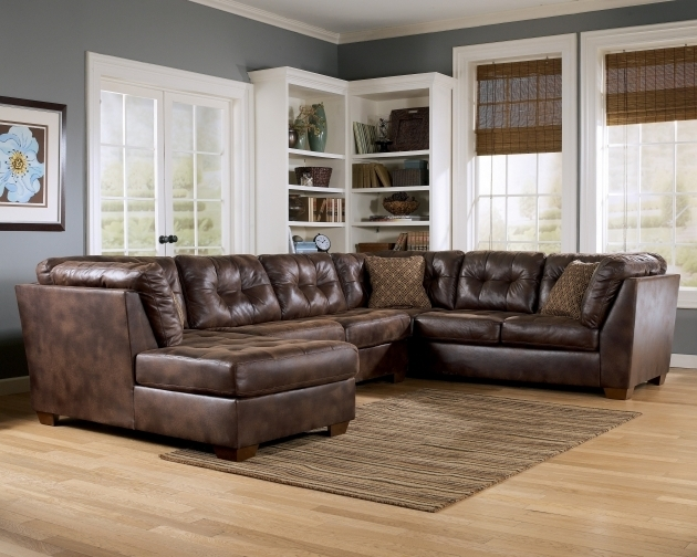 Brown Leather Sectional With Chaise Sleeper Sofa Bed And Recliner Photo 62