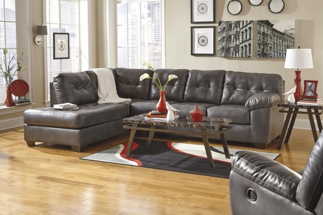 Faux Leather Couch With Chaise Sectional Tufting Signature Design Images 45