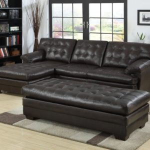 Black Leather Sectional with Chaise