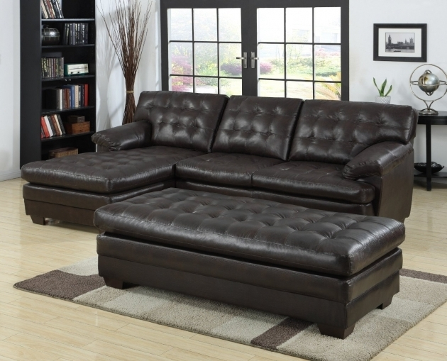 Furniture black tufted black leather sectional with chaise for Black leather chaise lounge sofa